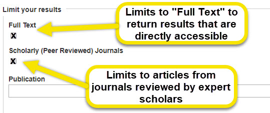 Use the full text option to limit the returned results to sources that are only directly accessible. the scholarly and peer reviewed journals option will limit results to articles that are only from journals reviewed by expert scholars