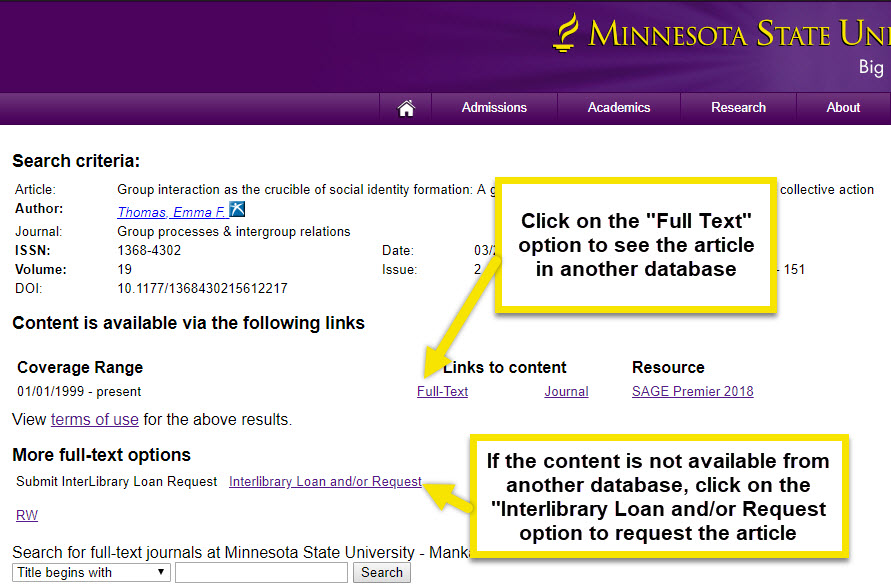 "Click Full-text for a link to the article in another database. If content is not available in another database, click Interlibrary Loan and/or Request"" to request the article through Interlibrary Loan."