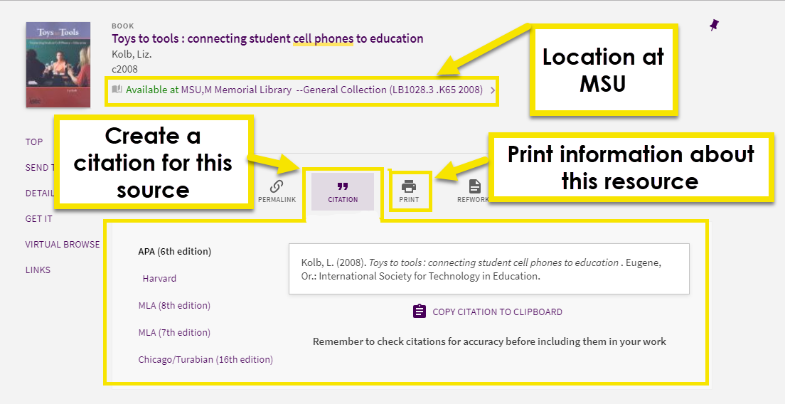 One you've clicked on an items title, you will be able to see more information about the item, like it's location if it is at Minnesota state university mankato. You will also see useful buttons, like the small printer icon which allows you to print the information you see about your resource, or the little quotation marks which is the citation button. The citation button will generate a citation for the resource in a variety of citation styles like APA and MLA.