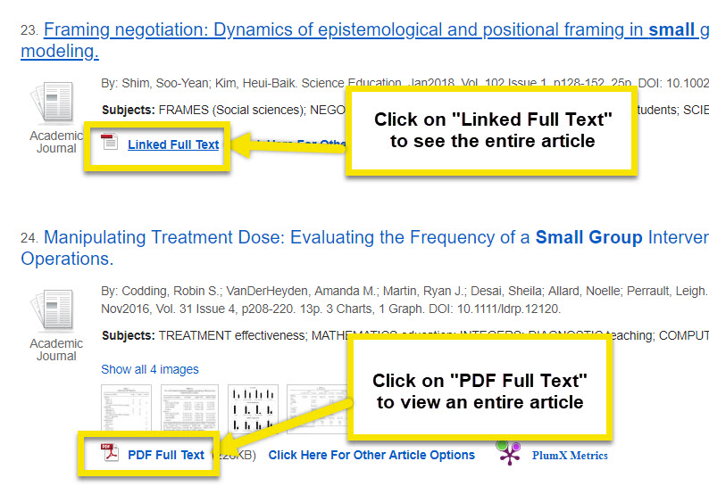 To find the full text of an article look for links that say linked full text or PDF full text