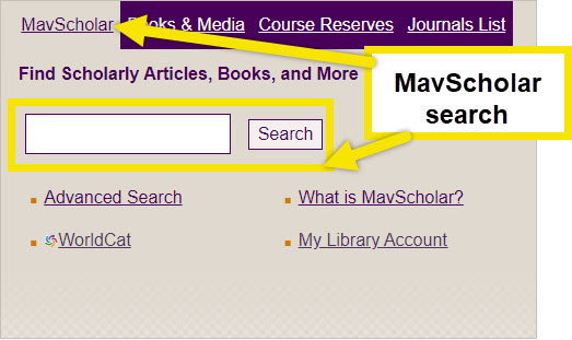 use the mavscholar search in the center of the page to search for articles