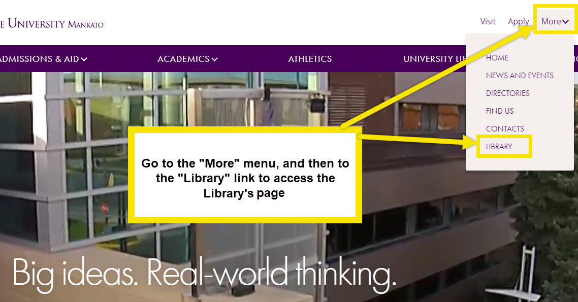 On the library's homepage find the dropdown menu labelled home to find the link to the library's page