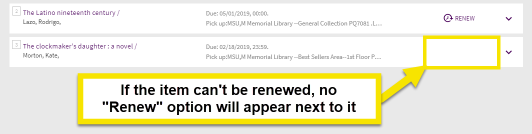 This example has no renew button option and cannot be renewed online.