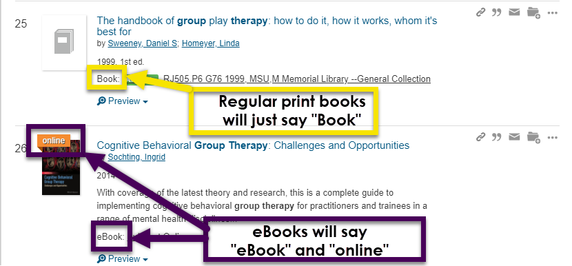ebooks will say either ebook or online. regular books will say merely book.