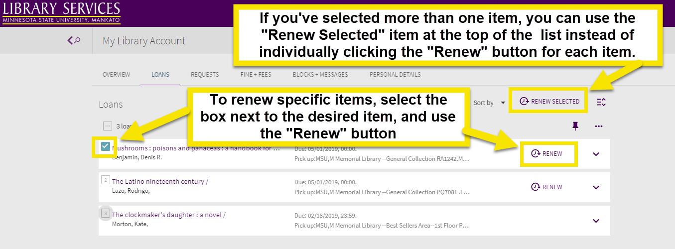 check the box next to your item to select the item. then use the renew item button to renew an item. if you have selected more than one item you can use the renew selected item instead.