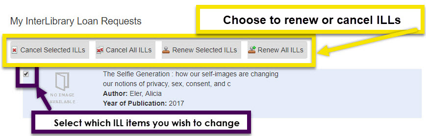 use the links to select either renew or cancel for one or all interlibrary loan items