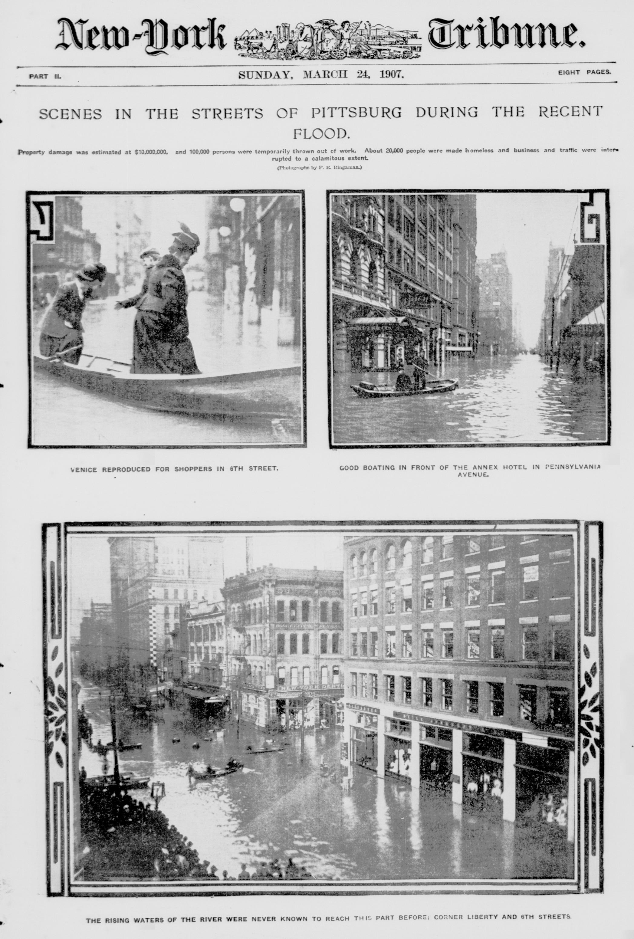 "The front page of the ""New York Tribune"" featuring the 1907 Pittsburgh Flood."
