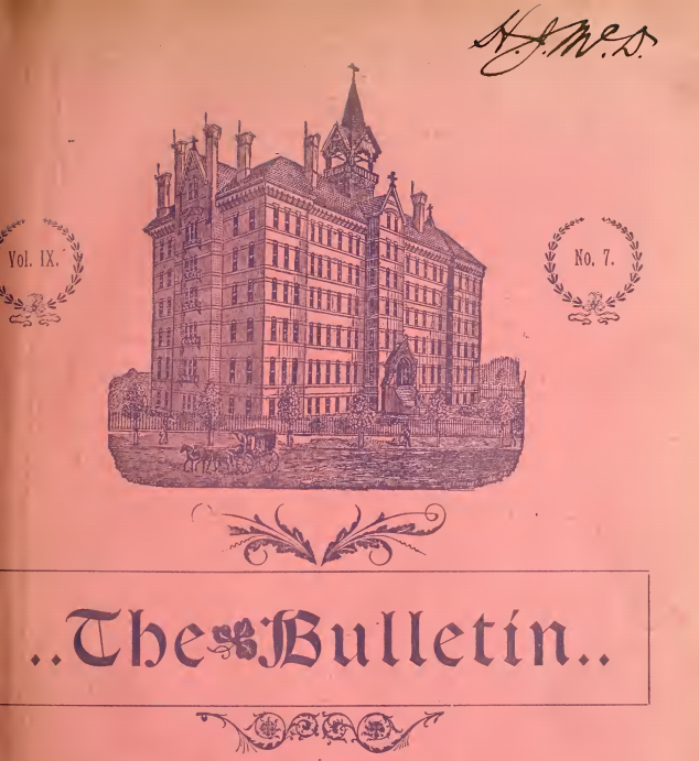 "A cover of the ""Pittsburg College Bulletin"" depicting Duquesne's Old Main building."