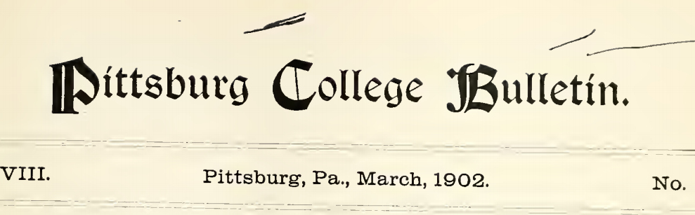"The ""Pittsburg College Bulletin"""