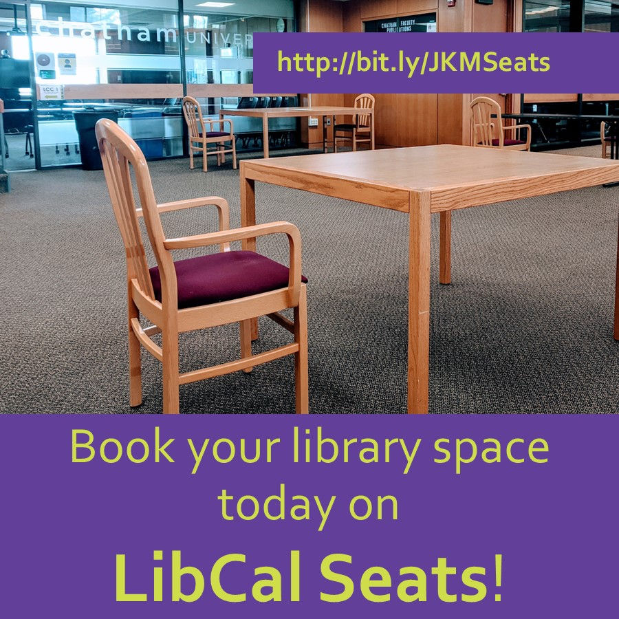 Book your library space today on LibCal Seats!