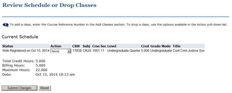 screenshot of Review Schedule or Drop Courses page