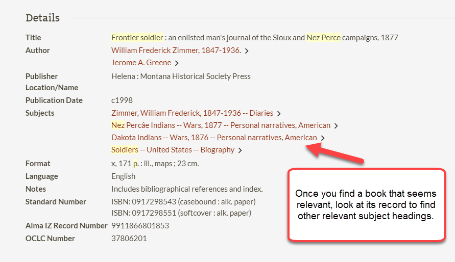 hyperlinked subjects in P S U catalog record