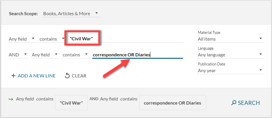 "Advanced Search in the Library Catalog for ""Civil War"" and Correspondence OR Diaries"