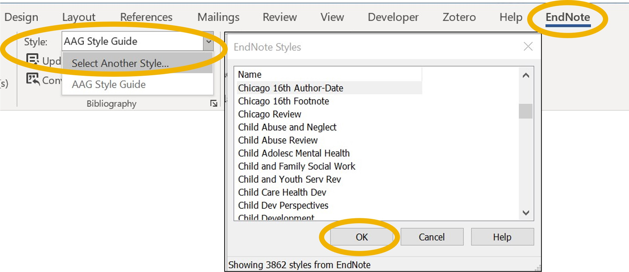 Change EndNote Style