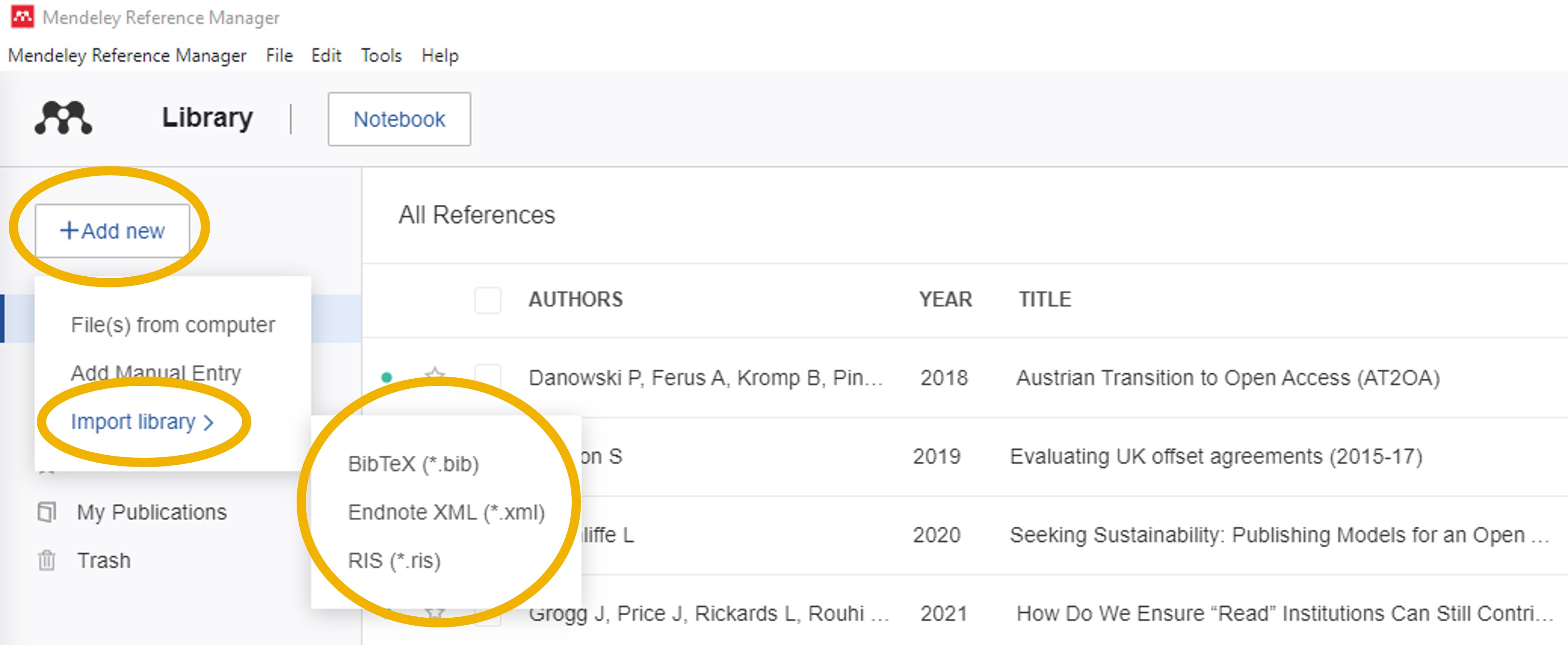 Mendeley Add Library