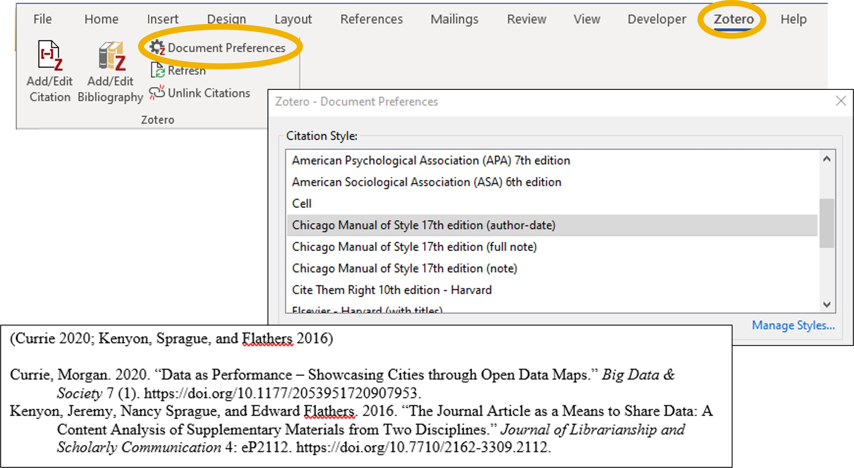 Zotero Change Citation Style