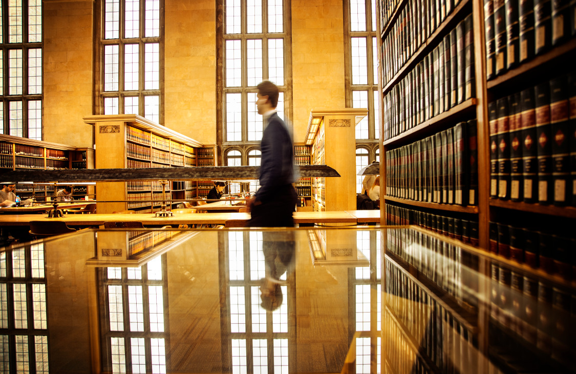 The law library in Myron Taylor Hall provides a warm place for students to study during the cold winter months.