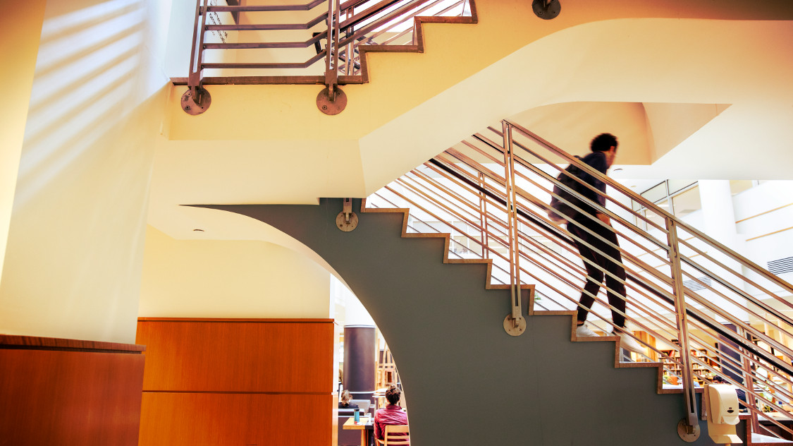 A student descends the staircase of Mann Library.
