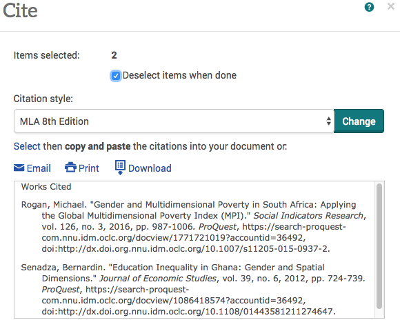 Use the drop down menu to select the citation style. The generated citations will appear in the box below. Copy and paste them to your working document.