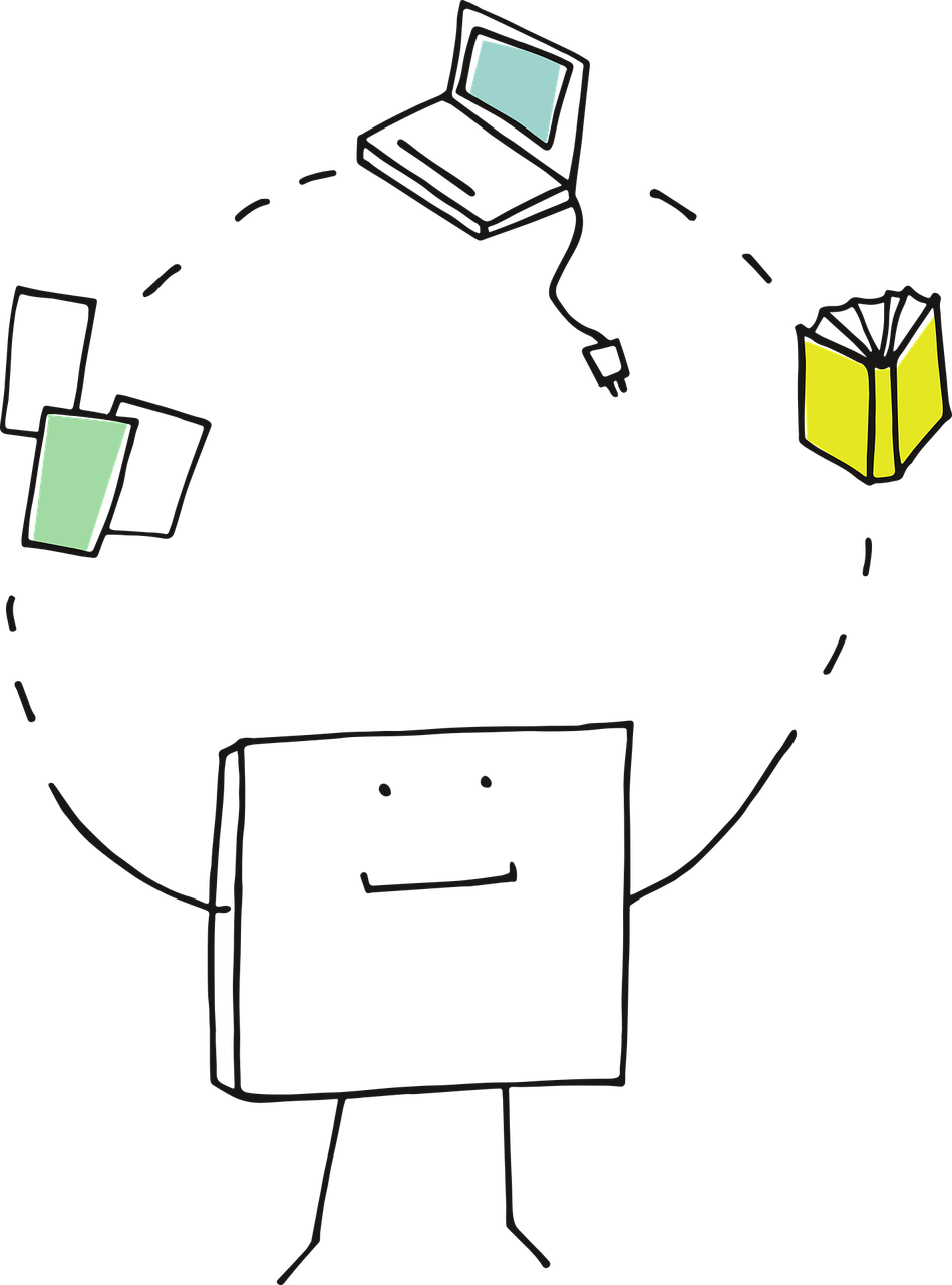 Picture of animated square juggling papers, a computer and a book
