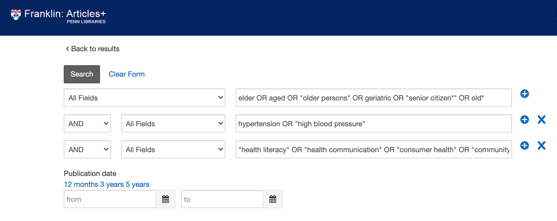 screenshot of Advanced Search