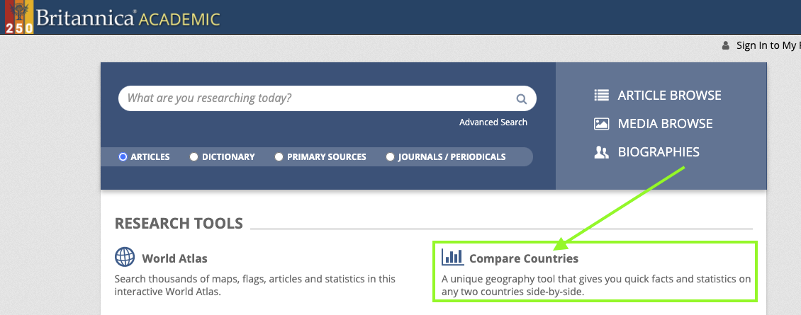 screenshot of homepage for encyclopedia brittanica pointing to Compare Countries tool