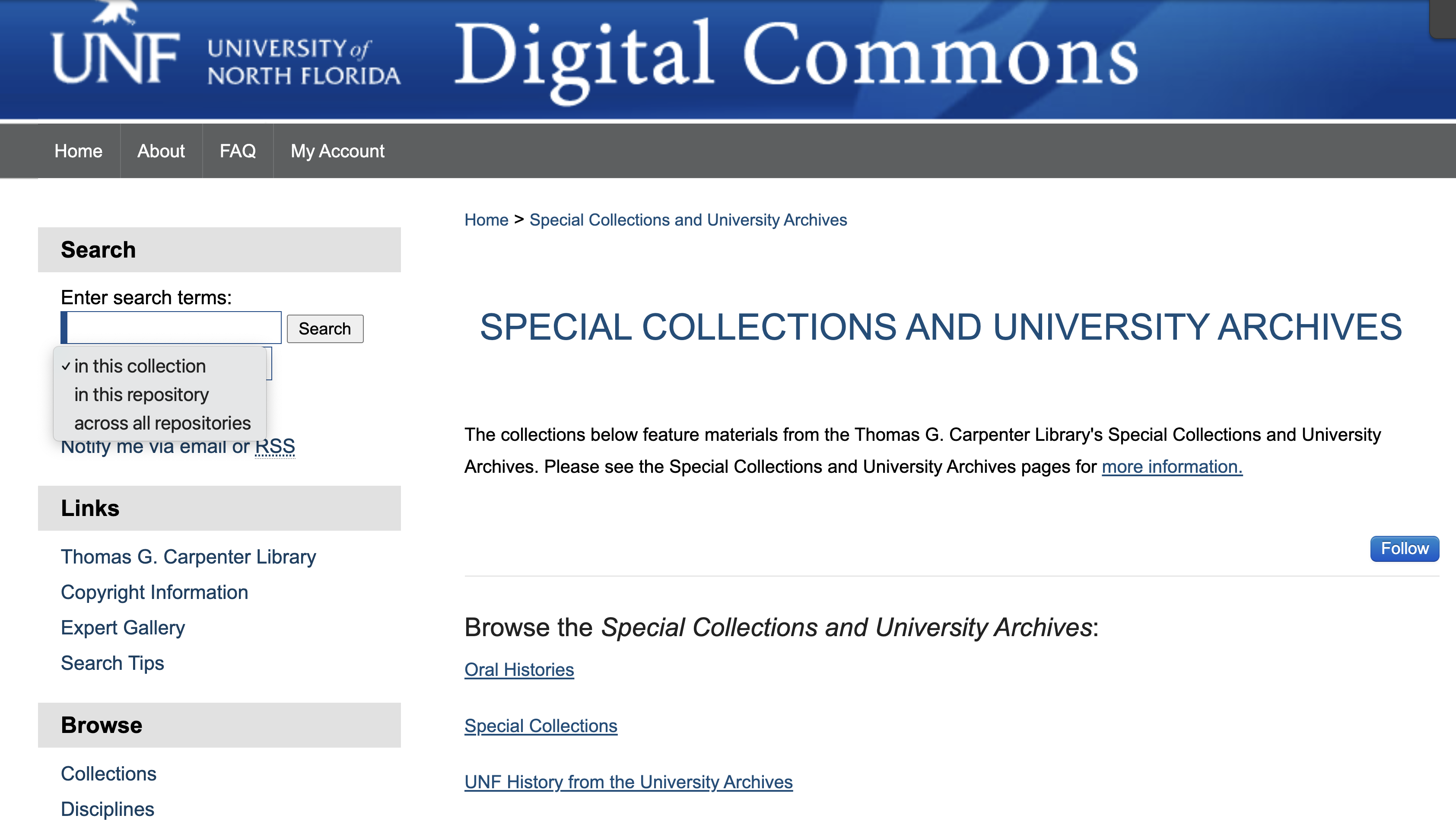 image of search options in UNF Digital Commons