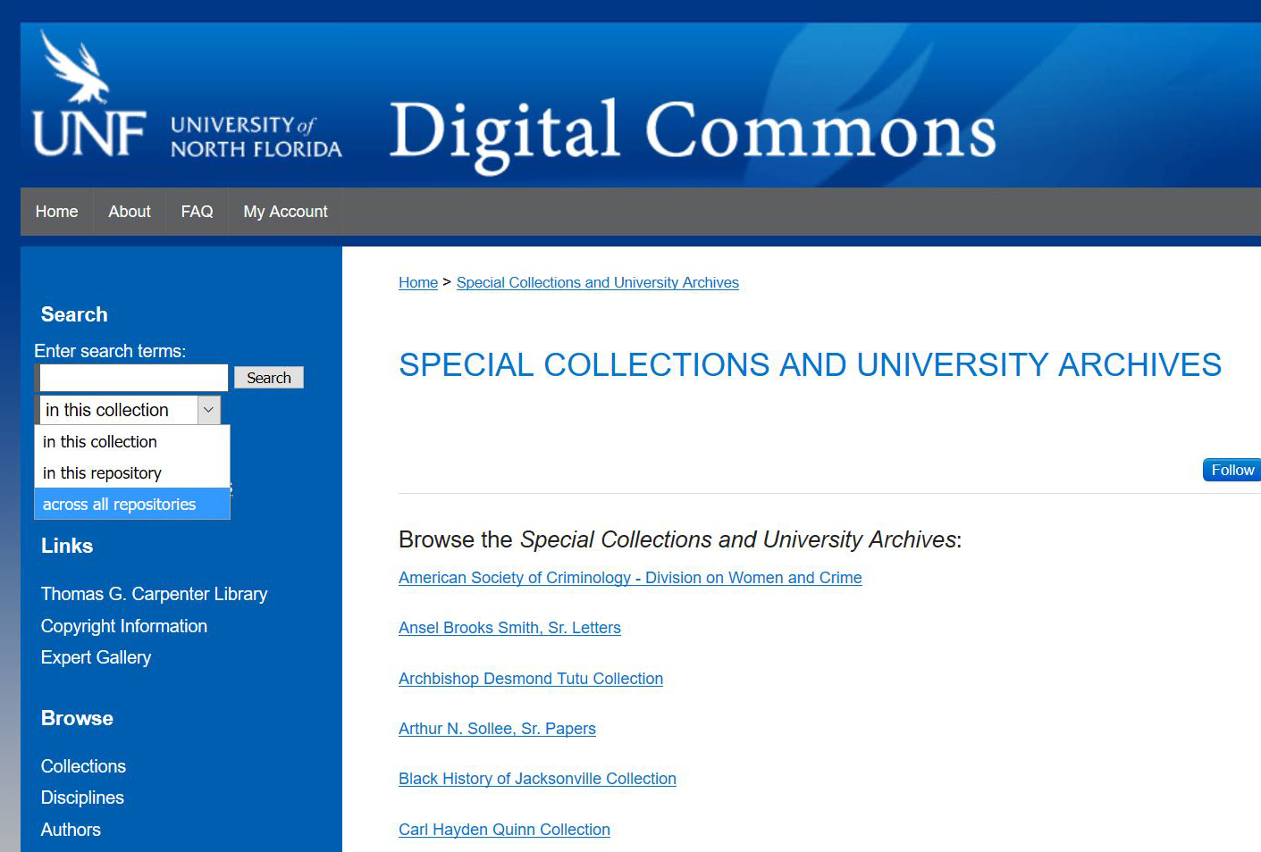 Screenshot of digital commons website