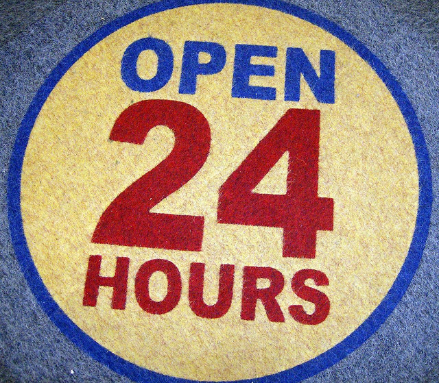 Floor mat with text saying open 24 hours