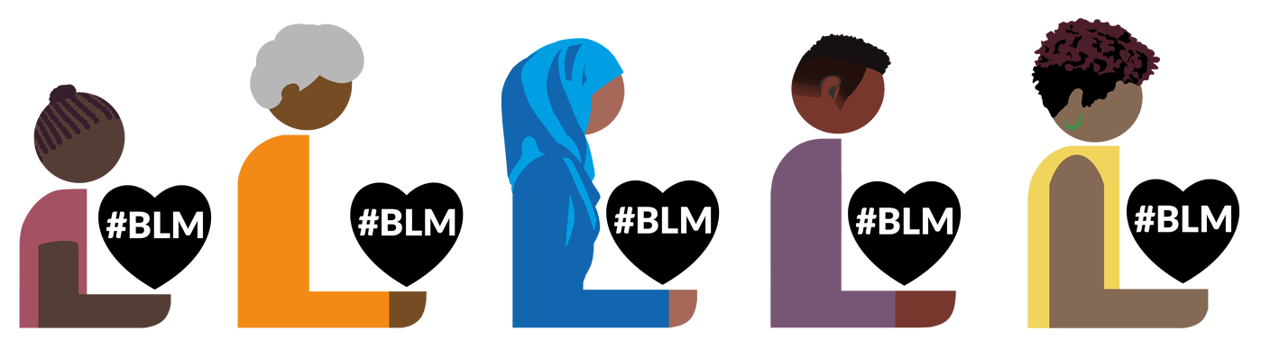 Animated people of diverse backgrounds holding hearts that say BLM