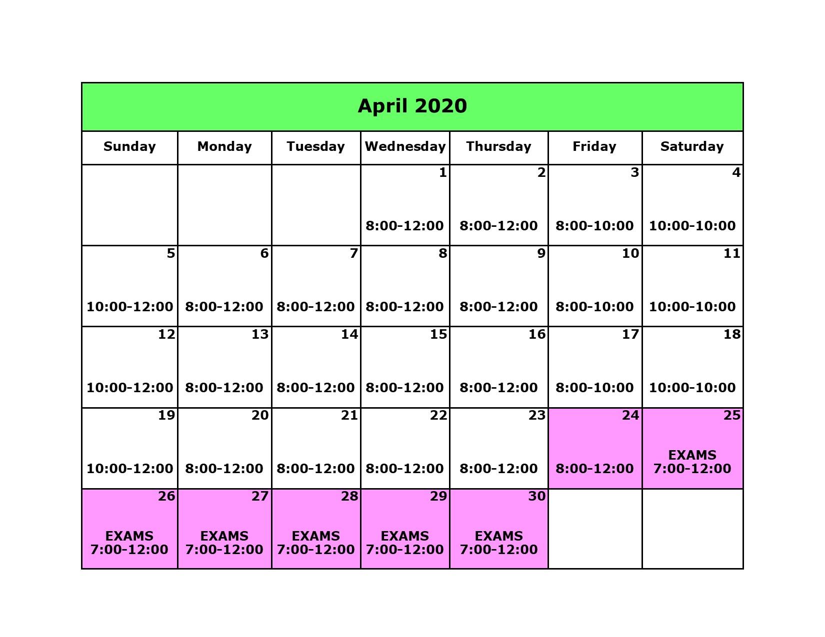 Library Calendar April 2020