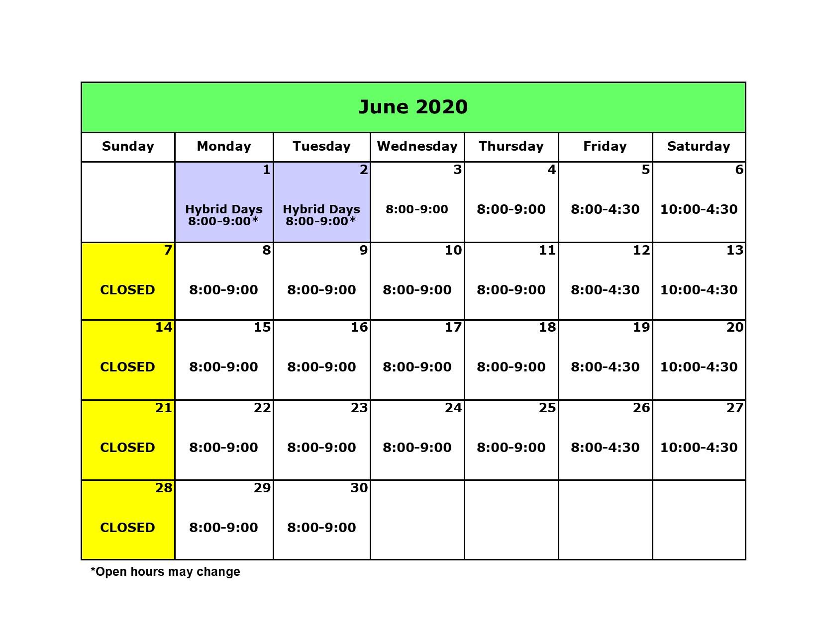 Library Calendar June 2020