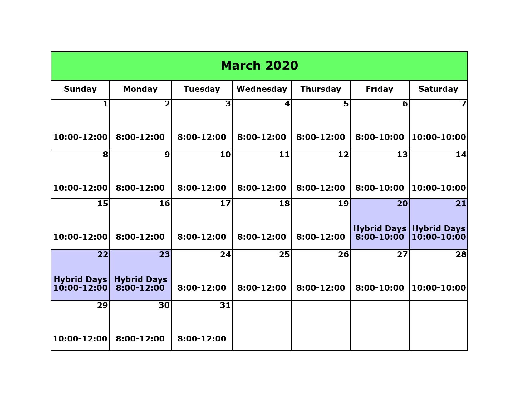 Library Calendar March 2020