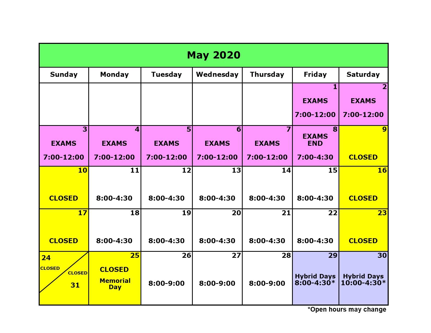 Library Calendar May 2020