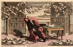 Dr Syntax, dreaming there are books flying all round him - Britannica ImageQuest