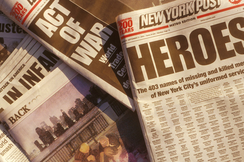 New York City, 09/11/2001, Newspaper Headlines after World Trade Center Attack - Britannica ImageQuest