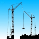 Silhouette of two cranes working - Britannica ImageQuest