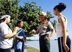 Students interviewing park ranger at Everglades National Park in Florida - Britannica ImageQuest