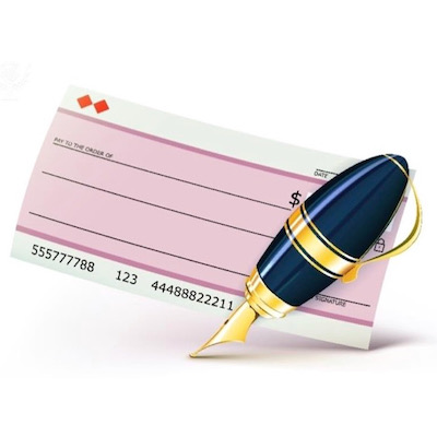 Bank check with fountain pen - Britannica ImageQuest