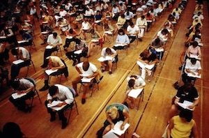 College students taking final exam - Britannica ImageQuest