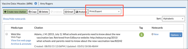 Export to Google Doc - NoodleTools