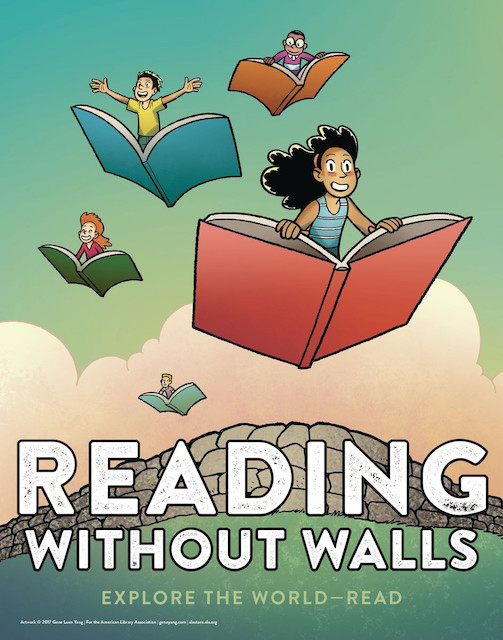 Reading Without Walls poster, Gene Luen Yang, 2016, for the American Library Association