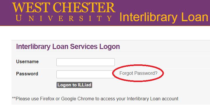 ILLiad forgot password