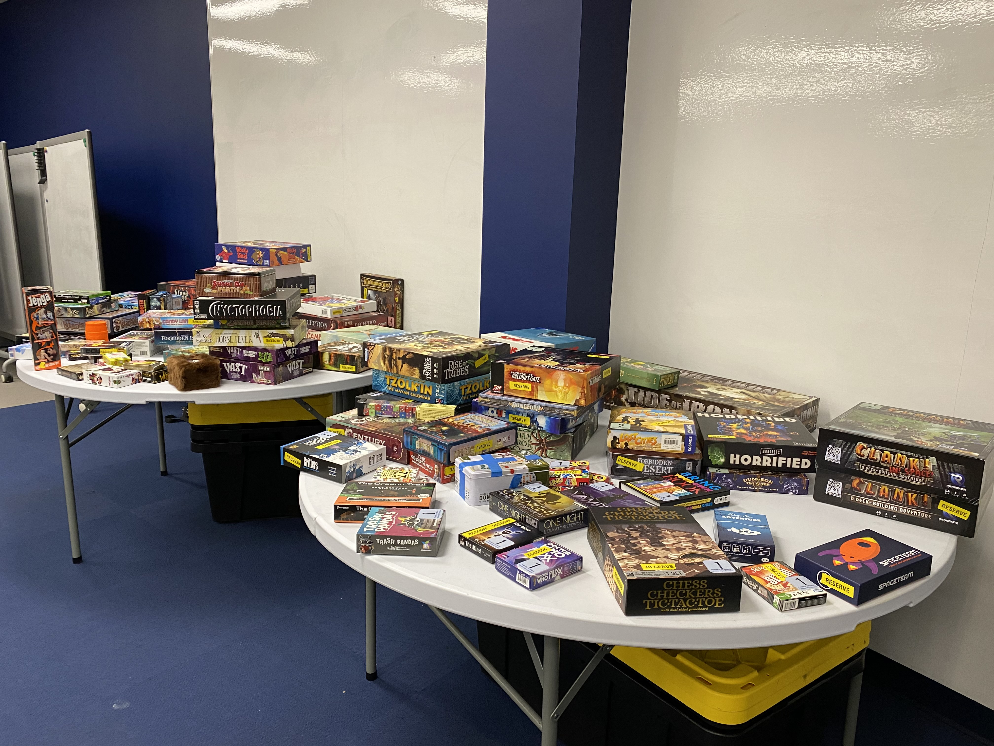 Two tables full of board games