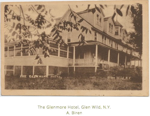 Postcard of the Glenmore Hotel.  Glen WIld, NY Photographer A> Biren