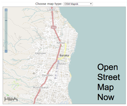 Baraka OSM map with roadways, rivers, city names