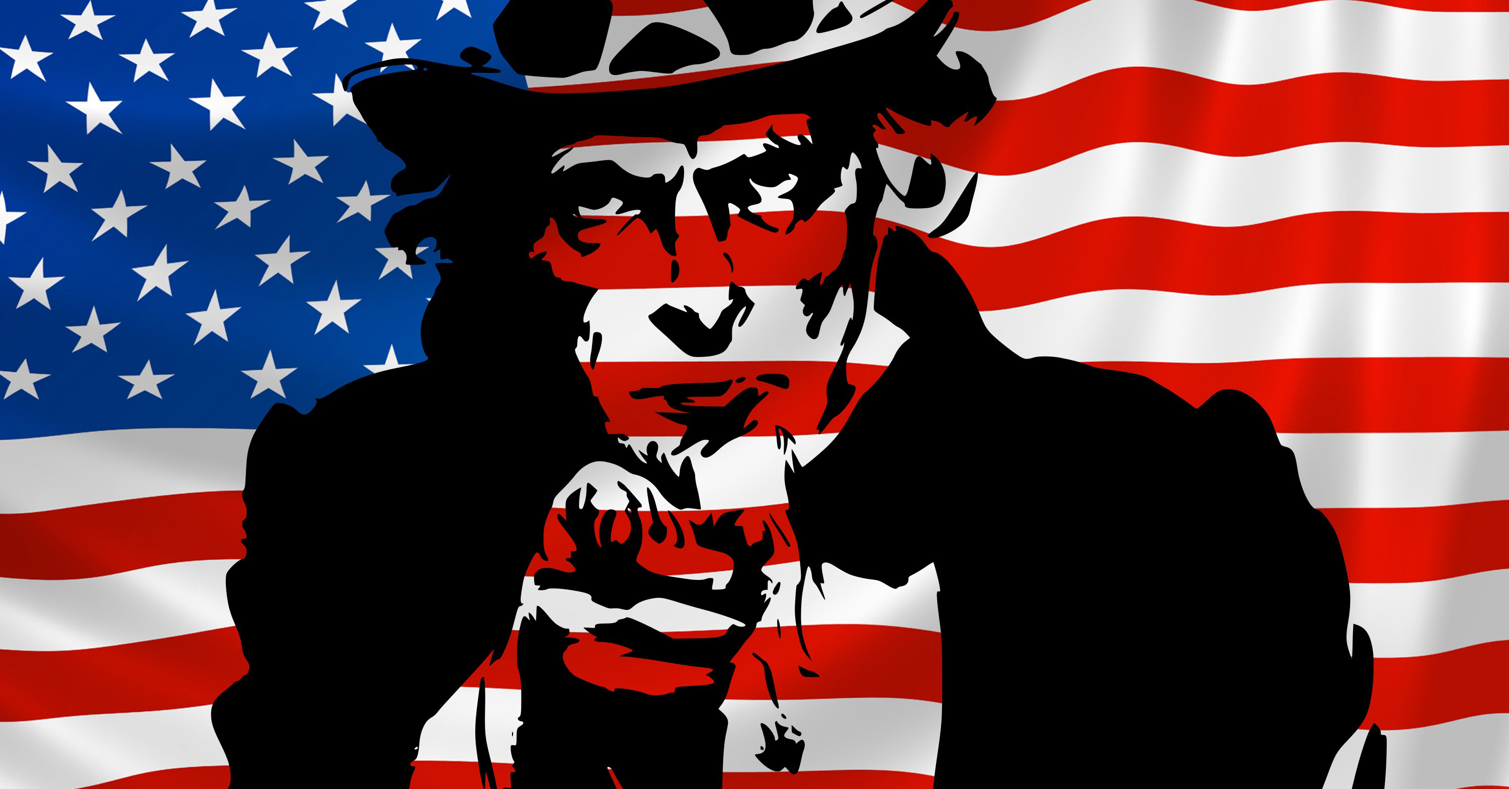 American Flag with Uncle Sam Embedded