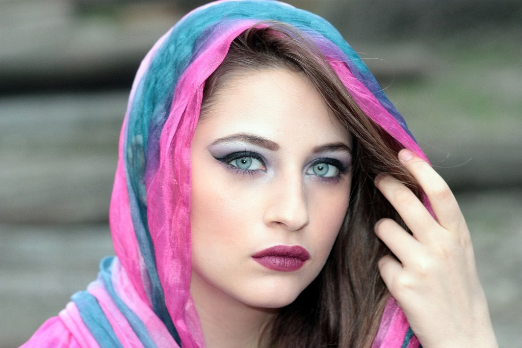 Girl wearing a colorful scarf