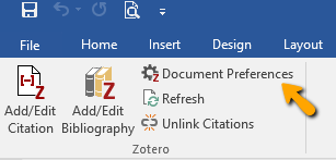 Zotero Document Preferences link in Microsoft Word