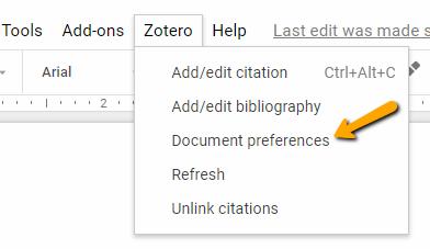 Document preferences menu in Google Docs